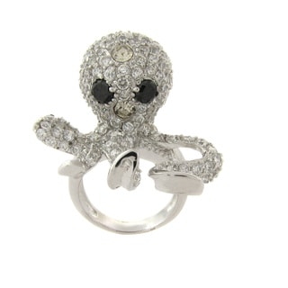 Dolce Giavonna Silverplated Black and White Cubic Zirconia Octopus Ring