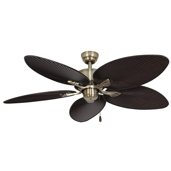 EcoSure Palm Island 52-inch Tropical, Aged Brass Ceiling Fan with Bronze Palm Leaf Blades and Remote Control
