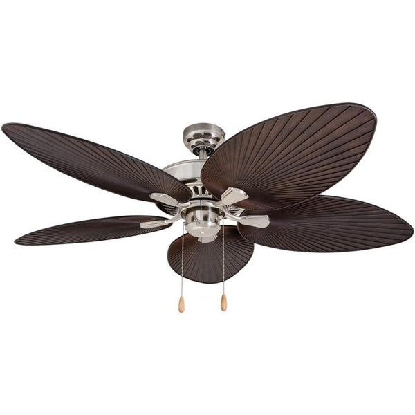 EcoSure Abaco Brushed Nickel 52-inch Ceiling Fan with Palm Leaf Blades and Remote Control