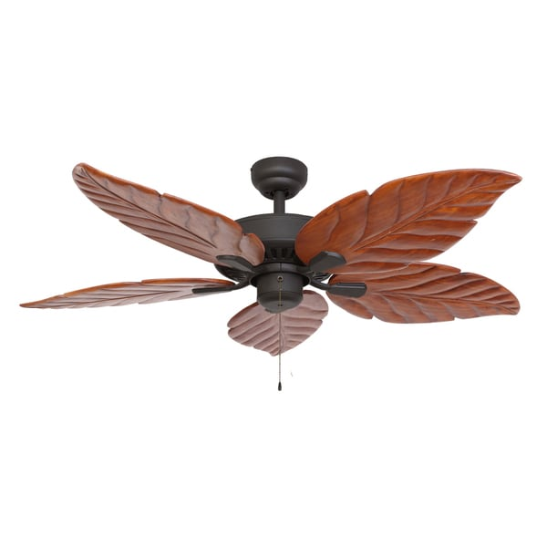 EcoSure Aruba 52-inch Bronze Indoor Ceiling Fan with Hand-carved Wooden Blades and Remote Control