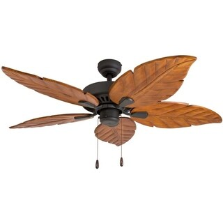 EcoSure Aruba 52-inch Tropical, Bronze Indoor Ceiling Fan with Hand-carved Wooden Blades and Remote Control