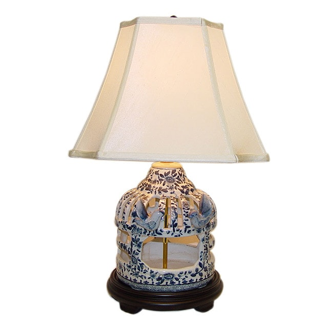 Blue/ White Birdcage Porcelain Table Lamp (Blue/White)