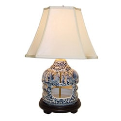Blue/ White Birdcage Porcelain Table Lamp