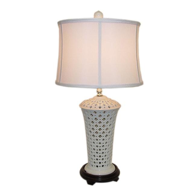 White Pierced Vase Porcelain Table Lamp