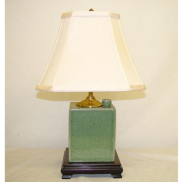 Celadon Crackle Porcelain Box Table Lamp