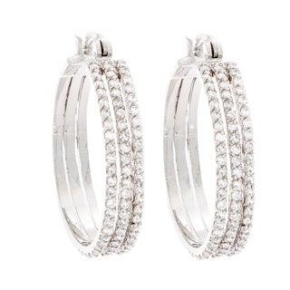 NEXTE Jewelry Rhodium-plated Cubic Zirconia Triple Hoop Earrings