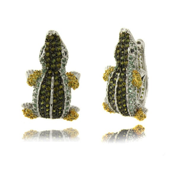 Dolce Giavonna Silverplated Cubic Zirconia Alligator Hoop Earrings