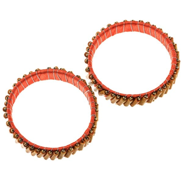 Set of 2 Fiber and Wood Bead Bangle Bracelets (Pakistan)