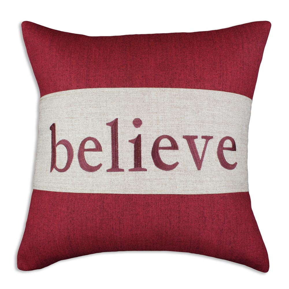 Burgundy 'Believe' Decorative Pillow