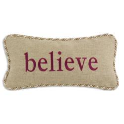 'Believe' Gold/ Tan Trim Decorative Pillow