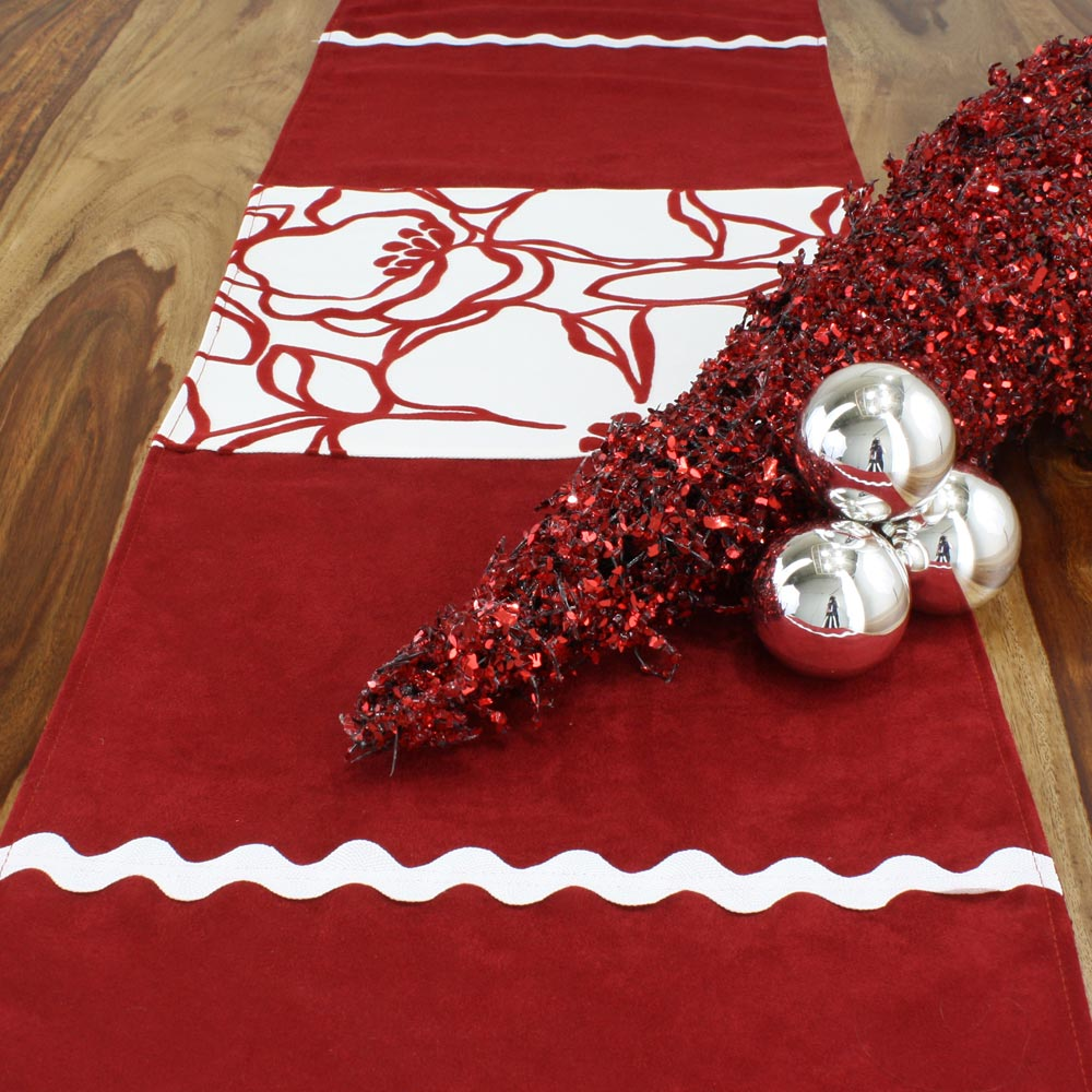 Passion Suede Scarlet Trimmed Table Runner