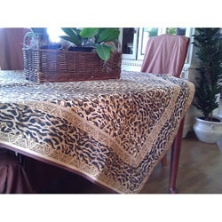 Corona Decor French Jacquard Leopard 56x56 Square Tablecloth in Multi color Gold/ Black