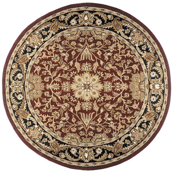 Hand Tufted Agra Red Gold Wool Rug 8 Round: Hand-tufted Regal Burgundy Wool Rug (8' Round)