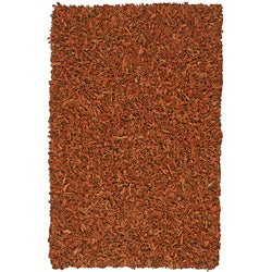 Hand-tied Pelle Copper Leather Shag Rug (2'6 x 4'2)