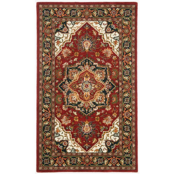 Hand-tufted Heriz Red Wool Rug (5' x 8')