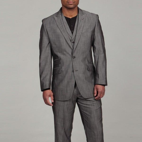 English Laundry Men's Grey Sharkskin Pattern Three-piece Suit
