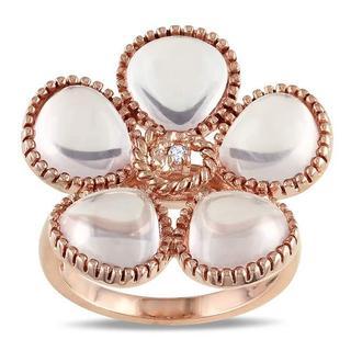 Miadora Silver Rose Quartz and Diamond Accent Ring