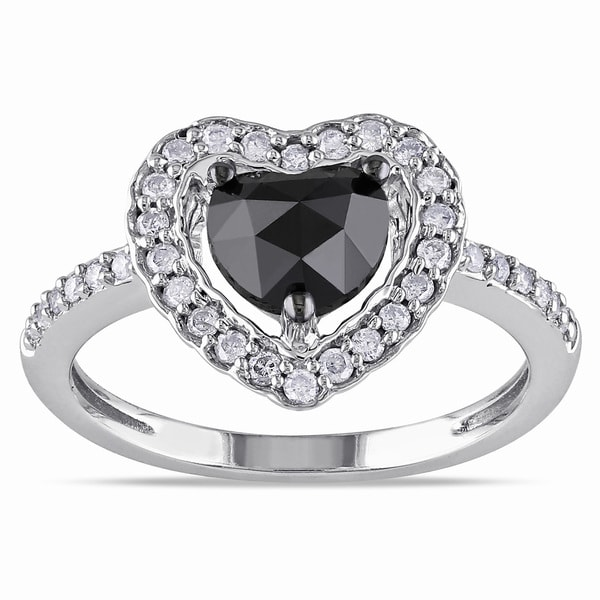Miadora 14k White Gold 1ct TDW Black and White Diamond Heart Halo Ring