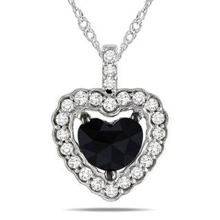Miadora 14k White Gold 1ct TDW Black and White Diamond Heart Halo Necklace