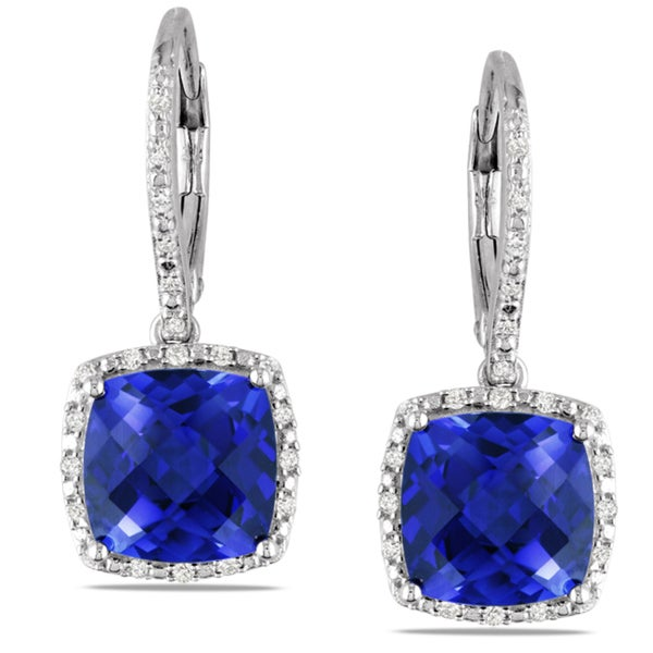 overstock earrings shop miadora sterling silver created sapphire and 1 5ct 2635