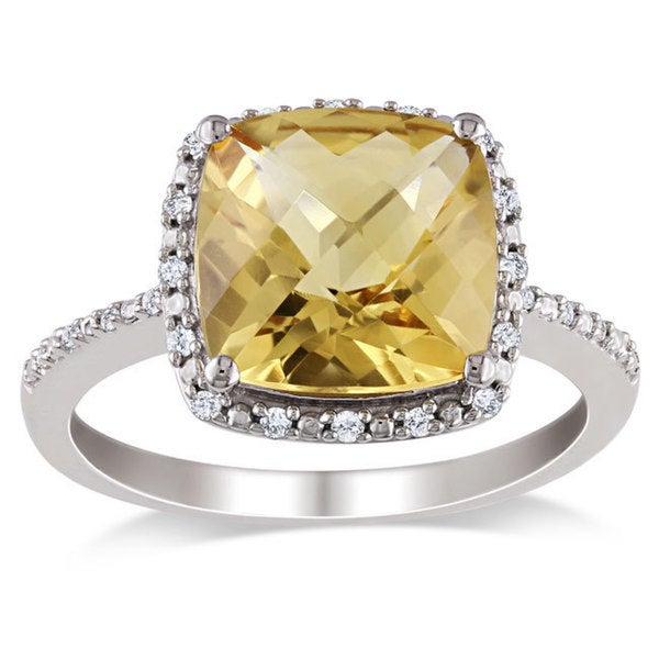 Miadora Sterling Silver Citrine and 1/10ct TDW Diamond Ring (G-H, I2-I3)
