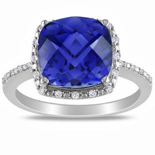 Link to Miadora Sterling Silver Created Sapphire and 1/10ct TDW Diamond Ring (G-H, I2-I3) Similar Items in Rings