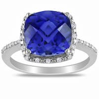Miadora Sterling Silver Created Sapphire and 1/10ct TDW Diamond Ring (G-H, I2-I3)