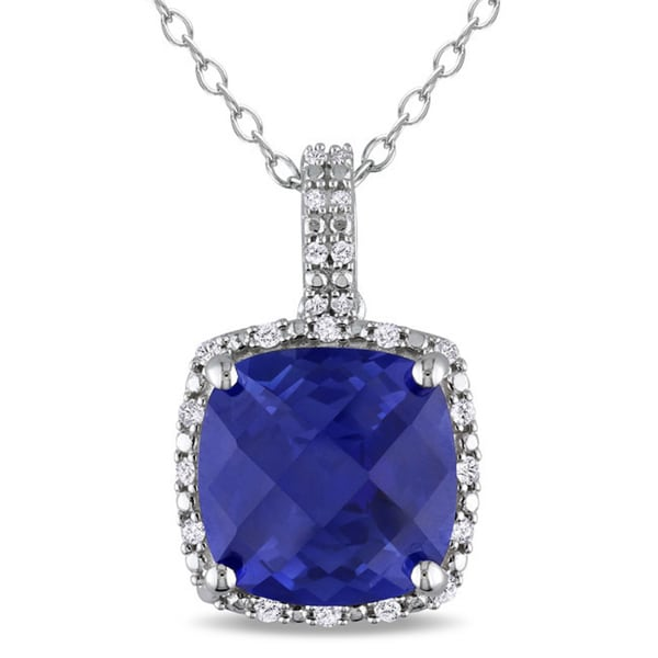 Miadora Sterling Silver Created Blue Sapphire and 1/10ct TDW Diamond Square Halo Birthstone Necklace