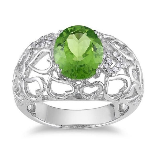 Miadora Sterling Silver Oval-cut Peridot and Diamond Accent Ring