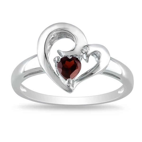 M by Miadora Sterling Silver Garnet and Diamond Accent Heart Ring