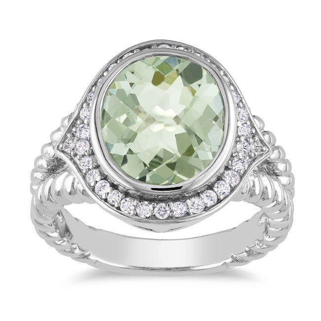 Miadora Sterling Silver Green Amethyst and 1/3ct TDW Diamond Ring (G-H, I2-I3)