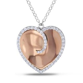 Miadora 18k Rose Gold 3/8ct TDW Diamond Heart Necklace (G-H, SI1-SI2)