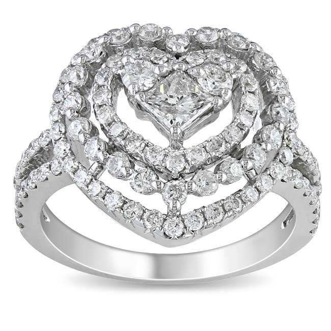 Miadora Signature Collection 18k White Gold 1 3/4ct TDW Diamond Heart Ring