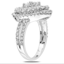 Miadora Signature Collection 18k White Gold 1 3/4ct TDW Diamond Heart Ring - Thumbnail 1