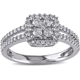 Miadora 14k White Gold 1/2ct TDW White Diamond Cluster Ring