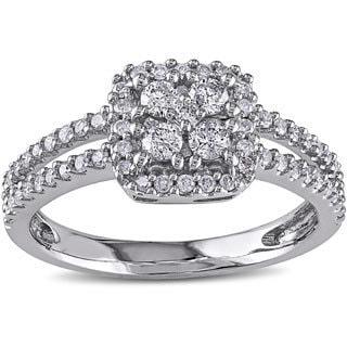 Miadora 14k White Gold 1/2ct TDW White Diamond Cluster Ring