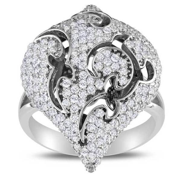 Miadora Signature Collection 18k Gold White 1 5/8ct TDW Diamond Cocktail Ring (G-H, SI1-SI2)