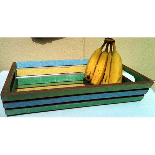 Handmade Coastlife Recycled Boat Wood Tray (Thailand). Opens flyout.