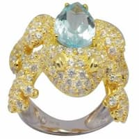 De Buman 18k Gold and Silver Blue Topaz and Cubic Zirconia Frog Ring