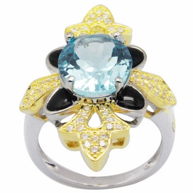 De Buman 18k Gold and Silver Blue Topaz and Black Cubic Zirconia Ring