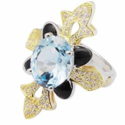 De Buman 18k Gold and Silver Blue Topaz and Black Cubic Zirconia Ring - Thumbnail 1