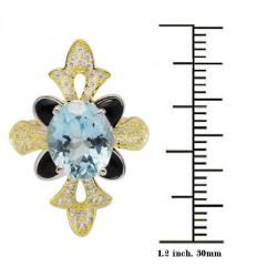 De Buman 18k Gold and Silver Blue Topaz and Black Cubic Zirconia Ring - Thumbnail 2