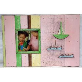 Handmade Boat Wood Sailboat Picture Frame (Thailand)