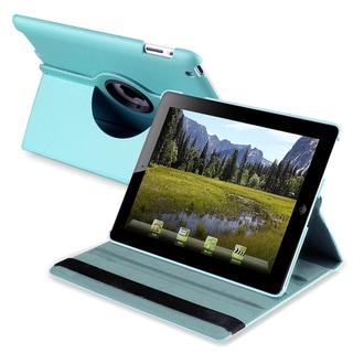 Blue 360-degree Leather Swivel Case for Apple iPad 2