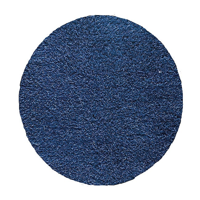M.A.Trading Hand-woven Shanghai Mix Blue Wool Rug (6'6 Round)