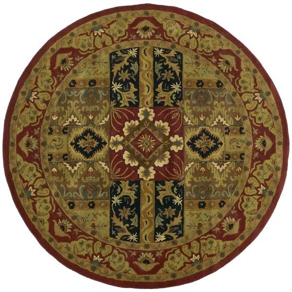 Hand-tufted Ashton Olive Round Wool Rug (6' Round)