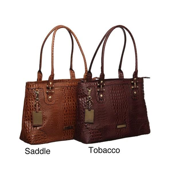 Etienne Aigner Tiffany Croco Embossed Tote Bag