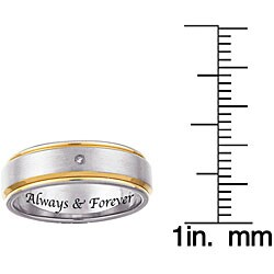 Two-tone Titanium Men's Diamond Accent 'Always & Forever' Band - Thumbnail 1