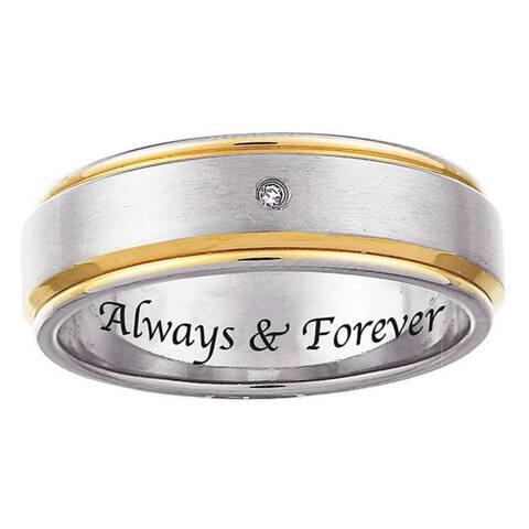Two-tone Titanium Men's Diamond Accent 'Always & Forever' Band