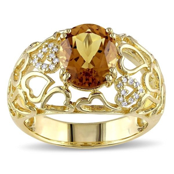 Miadora Silver Cognac Quartz and Diamond Accent Ring